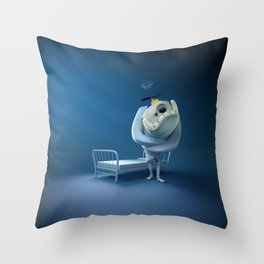 Crazy monster, in a straitjacket, with his bed. Throw Pillow