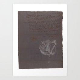 A vintage flower on an antique notebook page with handwritten text - Botanical Art Print Art Print