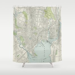 Vintage Map of New Haven Connecticut (1901) Shower Curtain