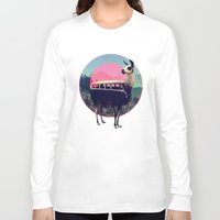 tapestry Long Sleeve T-shirts featuring Llama by Ali GULEC