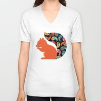 paisley V-neck T-shirts featuring Paisley Squirrel by Andy Westface