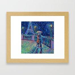 """Lovers in Rainy Paris"" - Palett knife figurative city landscape by Adriana Dziuba Framed Art Print"