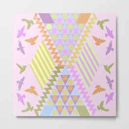 Patterns, Birds and Pastels Metal Print