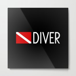 Diver Down Flag: Diver Metal Print