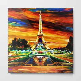 WATERCOLOR EIFFEL TOWER PARIS Metal Print