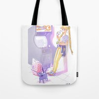 sailormoon Tote Bags featuring 90s Sailormoon by Collectif PinUp!