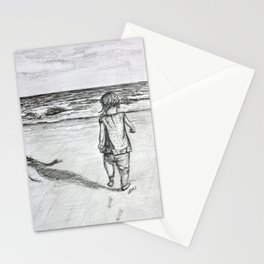 Toddler on the Beach Drawing Stationery Cards
