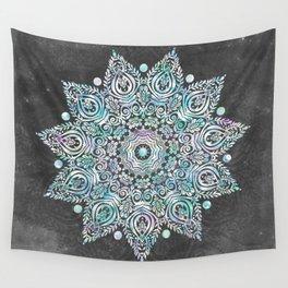 Mermaid Mandala on Deep Gray Wall Tapestry