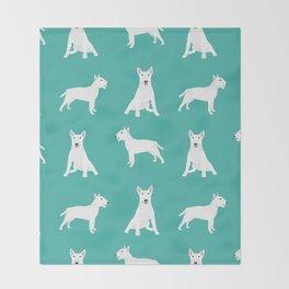 Bull Terrier white coat dog breed pet friendly dog gifts dog lover bull terriers Throw Blanket