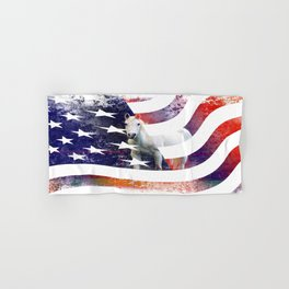 White Horse And American Flag By Annie Zeno Hand & Bath Towel