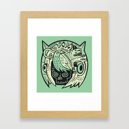 Bubble head - green Framed Art Print