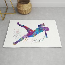 Girl Baseball Softball Batter Watercolour Sports Art Colorful Baseball Print Rug