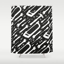 Black and White Tools Shower Curtain