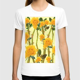 GOLDEN ROSES & THORNY CANES ON  YELLOW T-shirt