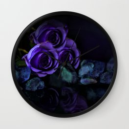 Three Purple Roses Wall Clock