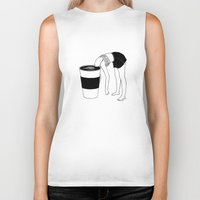 coffee Biker Tanks featuring Coffee, First by Henn Kim