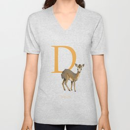 """D is for Dik-dik"": Under Appreciated Animals™ -series unusual creatures ABC alphabet kids orange Unisex V-Neck"