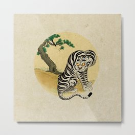 Tiger with magpie type-D : Minhwa-Korean traditional/folk art Metal Print