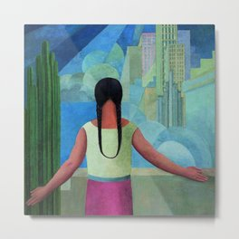 """""""The Northern Border of Mexico"""" - The Dreamers female Latina portrait painting by Angel Zarraga Metal Print"""