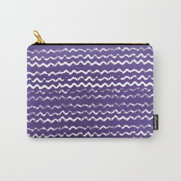 Abstract violet white watercolor geometrical chevron zigzag Carry-All Pouch