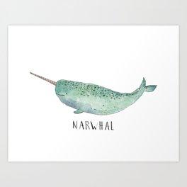 Cute Narwhal Art Print