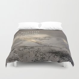 The Mountains are calling, and I must go.  John Muir. Vintage. Duvet Cover
