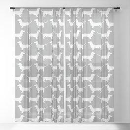 Silver Dachshund Pattern Sheer Curtain