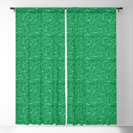 Vintage Japanese Clouds, Jade Green Blackout Curtain