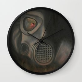 Freak Show Gas Mask Oil Painting Wall Clock