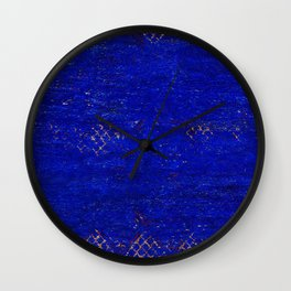 V11 Calm Blue Printed of Original Traditional Moroccan Carpet Wall Clock