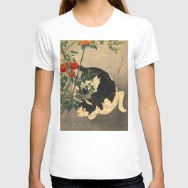 Shotei Takahashi Black & White Cat Tomato Garden Japanese Woodblock Print T-shirt