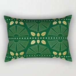 Emerald Art Deco Fan Rectangular Pillow