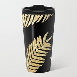 Gold Glitter Palms  |  Black Background Travel Mug