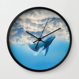 Swimming by the sky Wall Clock
