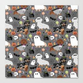 Dachshund dog breed halloween cute pattern doxie dachsie dog costumes Canvas Print