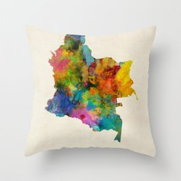 Colombia Watercolor Map Throw Pillow