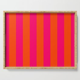 Bright Neon Pink and Orange Vertical Cabana Tent Stripes Serving Tray