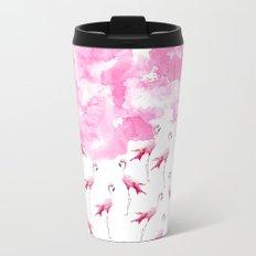 Rose pink white modern hand painted watercolor flamingo Metal Travel Mug