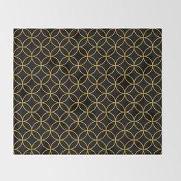 Japanese Traditional Design1 -SHIPPO- Black & Gold Throw Blanket