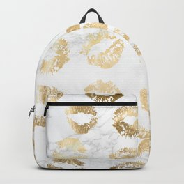 Fashion Lips Gold Lipstick on Marble Backpack