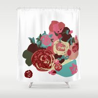 baroque Shower Curtains featuring Baroque Bouquet by Katrina Ward