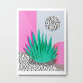 Dag - throwback memphis 1980s neon art pink pastel pattern black and white minimal art design urban Metal Print