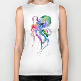 Rainbow Octopus, blue green octopus decor Biker Tank