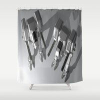 robots Shower Curtains featuring Robots by Carlo Toffolo
