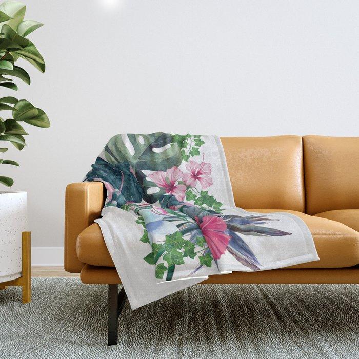 Tropical Plants Throw Blanket