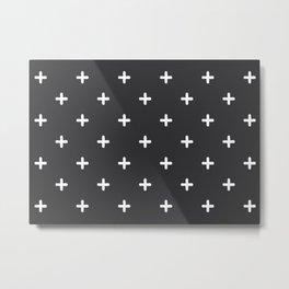 White Crosses on Charcoal Grey Metal Print