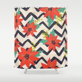 Christmas Poinsettias and Chevron Zigzags Shower Curtain