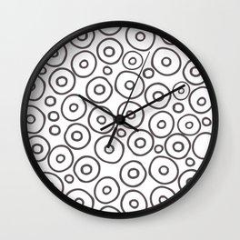 White, Circles, and Brown Wall Clock