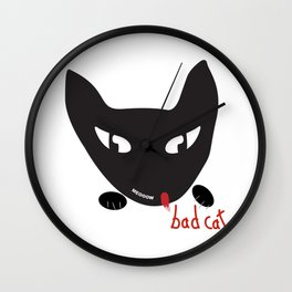 Bad Cat Bad Wall Clock