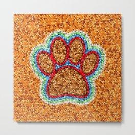 Low Polly Dog Paw Art Metal Print